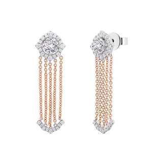 Amalianta亲卿系列单颗美钻密镶款18K 白金+玫瑰金耳环(一对)