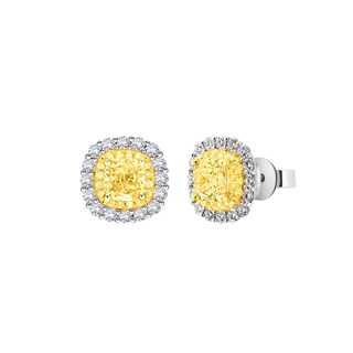 Jaunette 焕歆系列单颗美钻密镶款18K 白金+黄金耳环(一对)