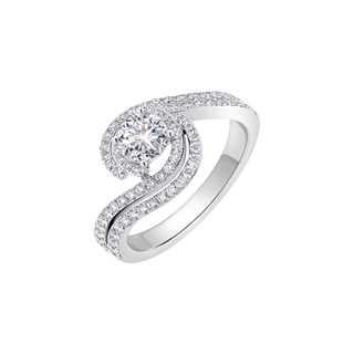 Amalianta亲卿系列单颗美钻密镶款18K 白金戒指