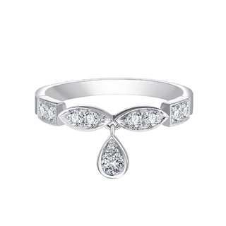 Collecte叠趣系列单颗美钻密镶款18K 白金戒指