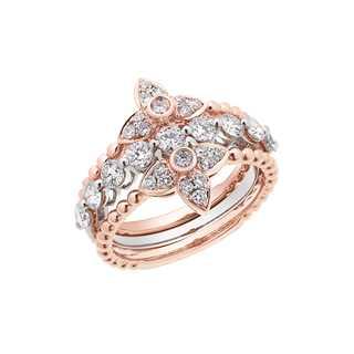 Collecte叠趣系列单颗美钻密镶款18K 白金+玫瑰金戒指