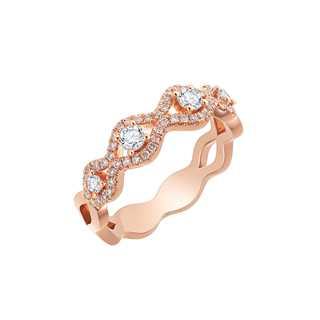 Collecte叠趣系列多颗美钻18K 玫瑰金戒指