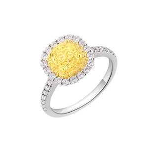 Dorette耀昕系列单颗美钻密镶款18K 白金+黄金戒指