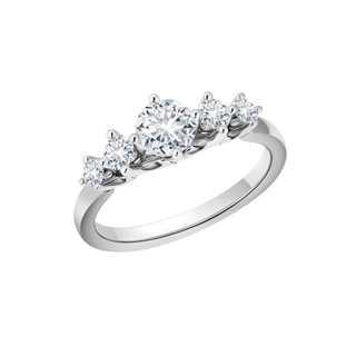 FLEUR盛茉系列多颗美钻18K 白金戒指