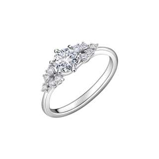 FLEUR盛茉系列单颗美钻密镶款18K 白金戒指