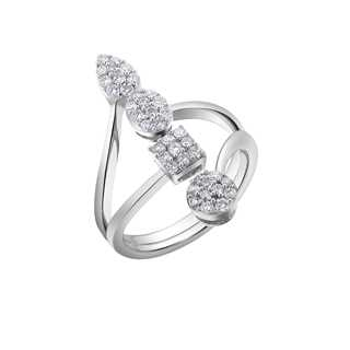 FLEUR盛茉系列美钻密镶款18K 白金戒指