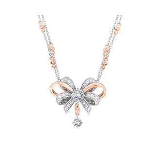 Romantica忻意系列多颗美钻18K 白金+玫瑰金项链