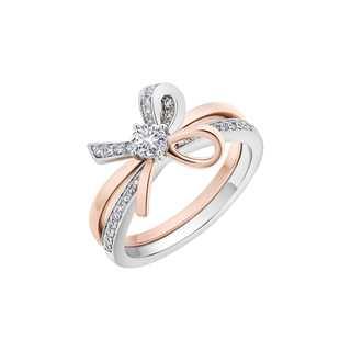 Romantica忻意系列单颗美钻密镶款18K 白金+玫瑰金戒指