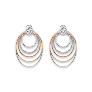 Millemoi™ Solitaire Pavé Long Circle Earrings