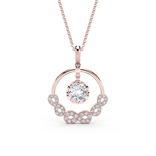 Endlea™ Collection Rose Gold Solitaire Pavé Pendant