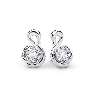 Swan Solitaire Stud Earrings