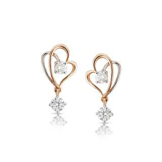 Twogether™ Two Diamond Plain Heart Earring