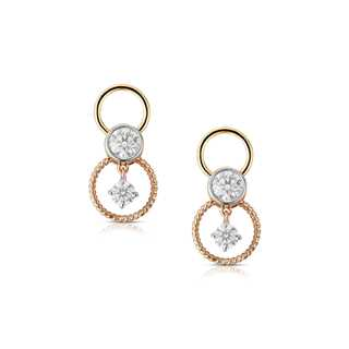 Twogether™ Two Diamond Plain Circle Earrings