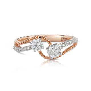 Twogether™ Two Diamond Semi Pavé Ring