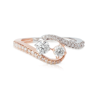 Twogether™ Collection Two Stone Multi-Metal Crossover Ring