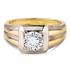 Zanyah™ Vintage  Two Tone Men's Diamond Ring in Yellow Gold