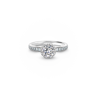 Swan Solitaire Pave Ring