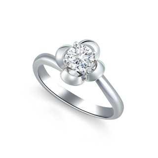 蔷薇•心向蔚然系列18K白金单钻戒指