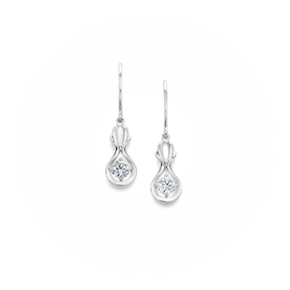 Swan Solitaire Drop Earrings